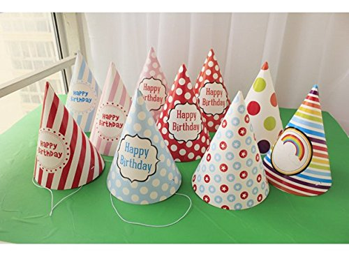 Lovely Paper Cone Birthday Party Hats For Children And AdultsBirthday Supplies 10 Pcs