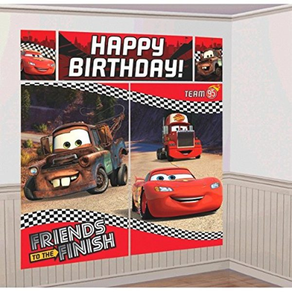 Amscan CDisney Cars Formula Racer Birthday Party Scene Setters Wall Decorating Kit 5 Pack